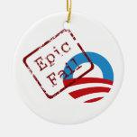 Ornamento épico del fall de Obama Adorno De Navidad