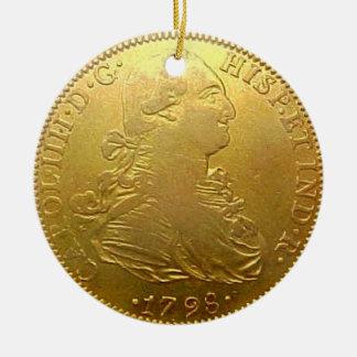 Ornamento español del navidad del doblón del oro adorno redondo de cerámica
