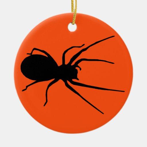 Ornamento espeluznante negro anaranjado de la adorno navideño redondo de cerámica