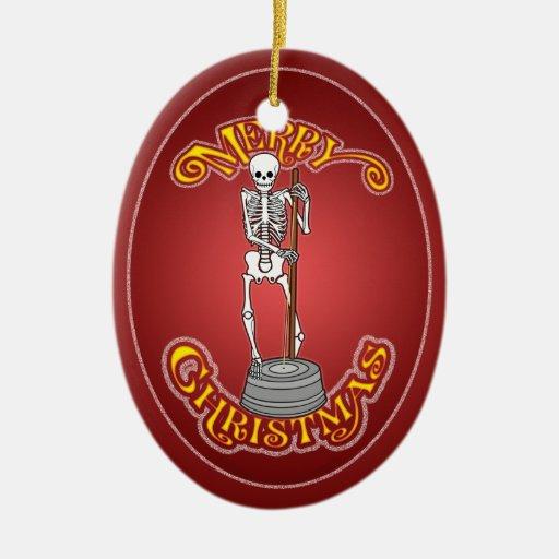 Ornamento esquelético bajo del navidad del Washtub Adorno Navideño Ovalado De Cerámica