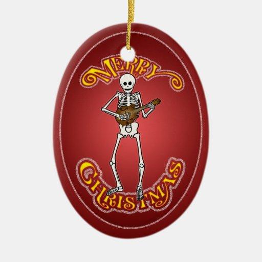Ornamento esquelético del navidad de la mandolina adorno navideño ovalado de cerámica