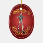 Ornamento esquelético del óvalo del navidad del ornamente de reyes