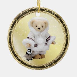 Ornamento esquimal lindo del oso y del pingüino de ornamentos de navidad