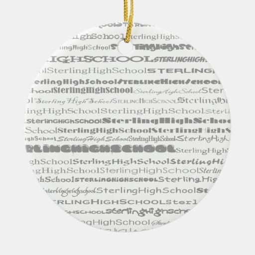 Ornamento esterlina del diseño II del texto de la Adorno Redondo De Cerámica
