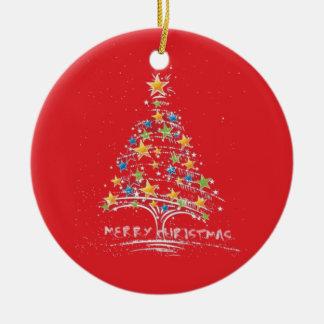 Ornamento estrellado del árbol de las Felices Adorno Navideño Redondo De Cerámica