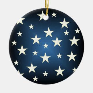 Ornamento estrellado del navidad adorno navideño redondo de cerámica