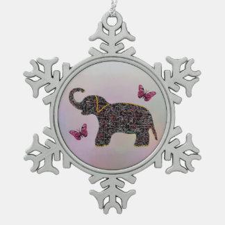 Ornamento exótico del elefante de la joya adorno de peltre en forma de copo de nieve
