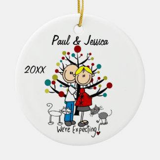 Ornamento expectante de encargo del navidad de los adorno navideño redondo de cerámica