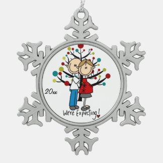 Ornamento expectante del copo de nieve de los pare adorno