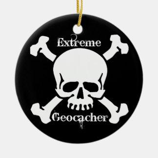 Ornamento extremo de Geocacher con el cráneo Adorno Navideño Redondo De Cerámica