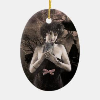 Ornamento fantasmal del arte de la señora del gato ornaments para arbol de navidad