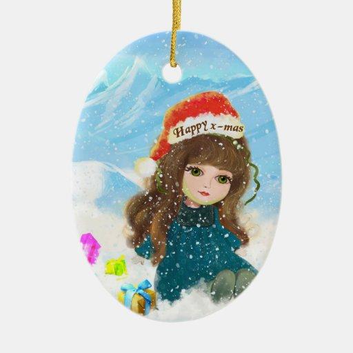 Ornamento feliz de la muñeca de Navidad Ornamentos De Navidad