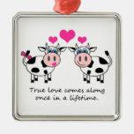 Ornamento feliz de las vacas del amor verdadero ornamentos de navidad