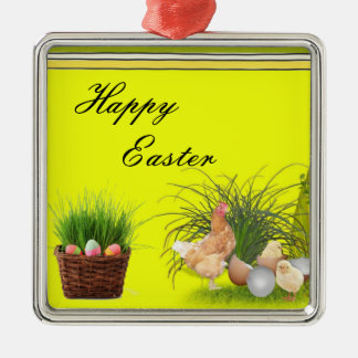 Ornamento feliz de Pascua Adorno Cuadrado Plateado