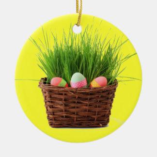 Ornamento feliz de Pascua Adorno Redondo De Cerámica