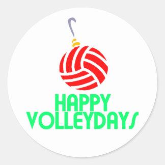 Ornamento feliz de Volleydays del navidad del Pegatina Redonda