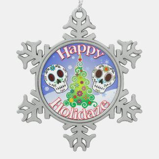 Ornamento feliz del cráneo del azúcar de Holidaze Adorno De Peltre En Forma De Copo De Nieve