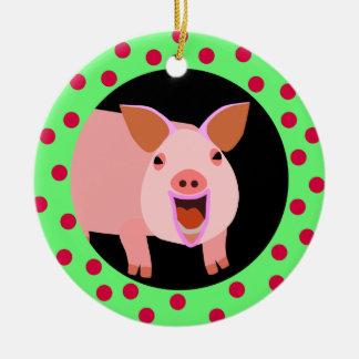 Ornamento feliz del día de fiesta del cerdo ornamento para arbol de navidad