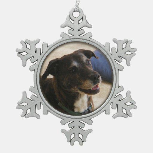 Ornamento feliz del estaño del ~ del perro adorno de peltre en forma de copo de nieve