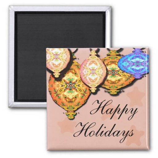 ornamento, feliz, días de fiesta iman para frigorífico