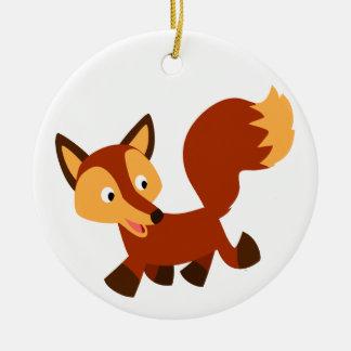 Ornamento feliz lindo del Fox del dibujo animado Ornamento Para Arbol De Navidad