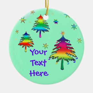 Ornamento feliz único de los árboles del arco iris ornamentos de navidad
