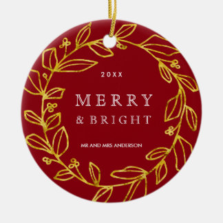 Ornamento feliz y brillante de la foto adorno navideño redondo de cerámica