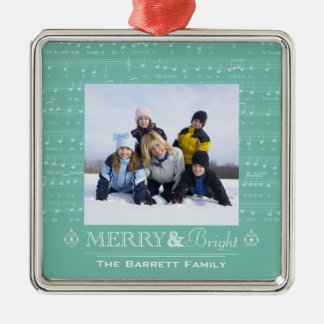 Ornamento feliz y brillante de la foto de familia ornamento para arbol de navidad