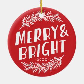 Ornamento feliz y brillante de la foto del adornos de navidad
