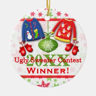 Ornamento feo 2 del ganador de la competencia del adorno redondo de cerámica