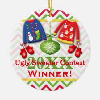 Ornamento feo 3 del ganador de la competencia del adorno redondo de cerámica