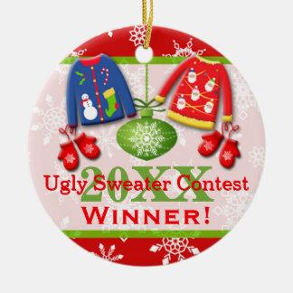 Ornamento feo 4 del ganador de la competencia del adorno redondo de cerámica