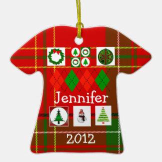Ornamento feo de la camisa del suéter del navidad adorno de cerámica en forma de playera