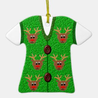 Ornamento feo del chaleco del suéter del reno del adorno de cerámica en forma de playera