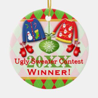 Ornamento feo del ganador de la competencia del adorno redondo de cerámica