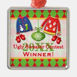 Ornamento feo del ganador de la competencia del su adornos de navidad
