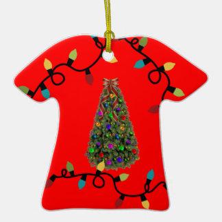 Ornamento feo del suéter del árbol de navidad adorno de cerámica en forma de playera