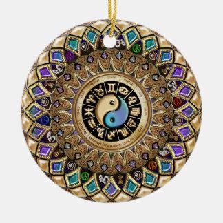 Ornamento festivo del día de fiesta del navidad de adorno redondo de cerámica