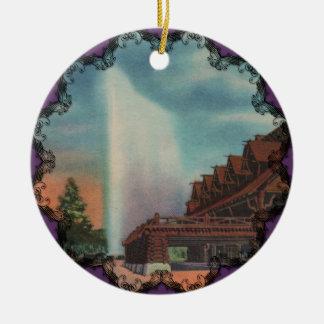 Ornamento fiel viejo del Victorian Adorno Redondo De Cerámica