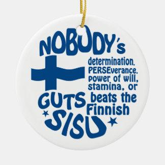 Ornamento finlandés de SISU, de doble cara Adorno Navideño Redondo De Cerámica