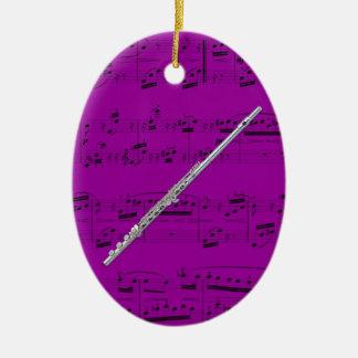 Ornamento - flauta - escoja su color adorno navideño ovalado de cerámica