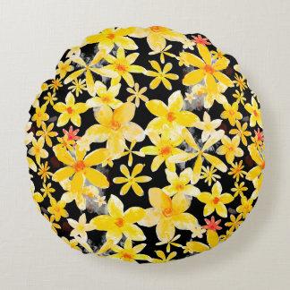 Ornamento floral amarillo cojín redondo