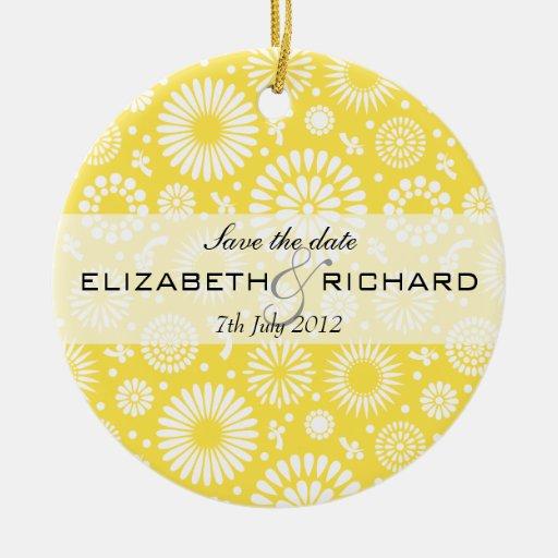 Ornamento floral amarillo del vintage adorno de reyes