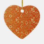 Ornamento floral anaranjado del vintage ornamentos de navidad