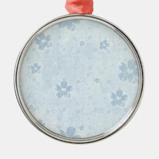 Ornamento floral - azul adorno navideño redondo de metal
