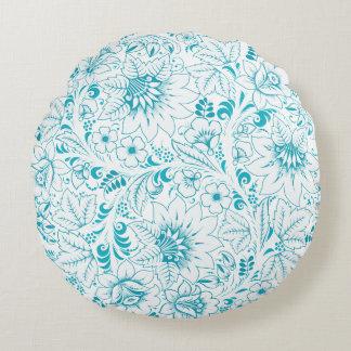 Ornamento floral azul cojín redondo