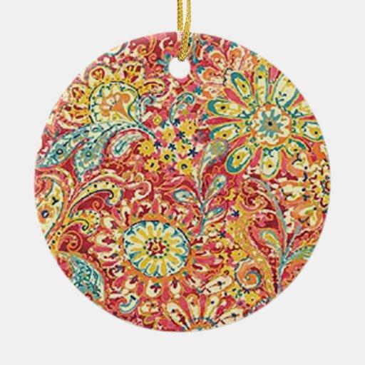 Ornamento floral colorido adorno navideño redondo de cerámica
