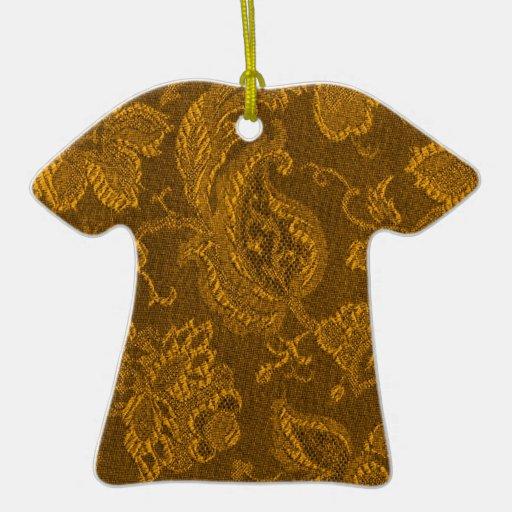 Ornamento floral de la camiseta del oro amarillo adorno navideño de cerámica en forma de playera