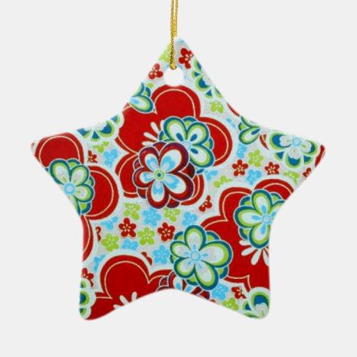 Ornamento floral de la diversión adorno navideño de cerámica en forma de estrella