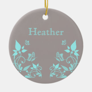 Ornamento floral de la mariposa de la aguamarina adorno navideño redondo de cerámica